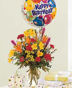 Birthday Bouquet and Balloon